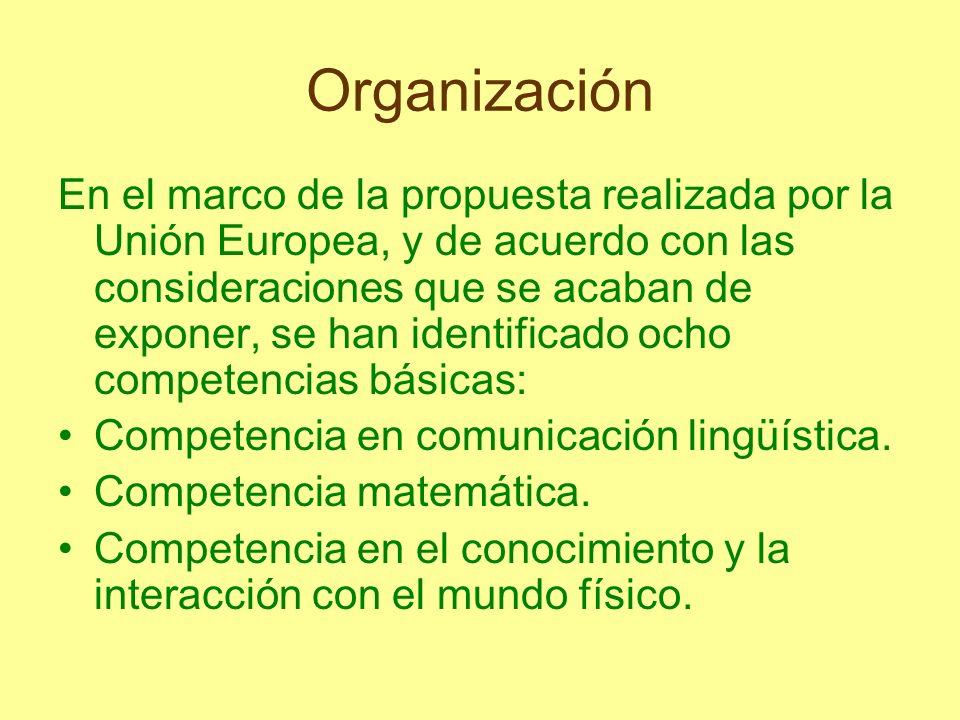 Organización En el marco de la propuesta realizada por la Unión Europea, y de acuerdo con las consideraciones que se acaban de exponer, se han identif