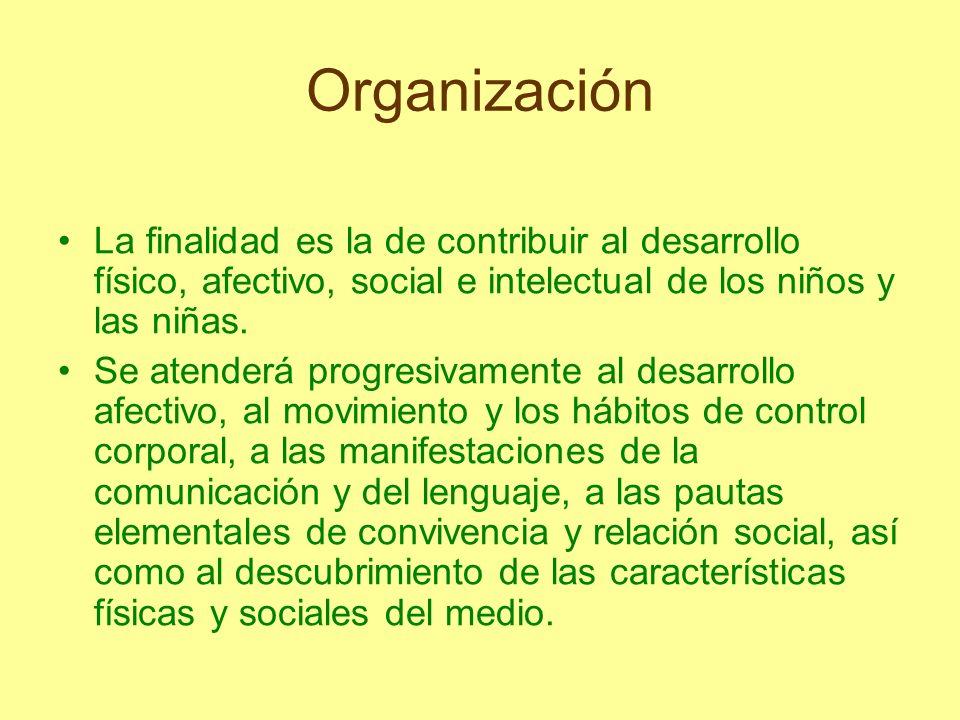 Organización La finalidad es la de contribuir al desarrollo físico, afectivo, social e intelectual de los niños y las niñas. Se atenderá progresivamen