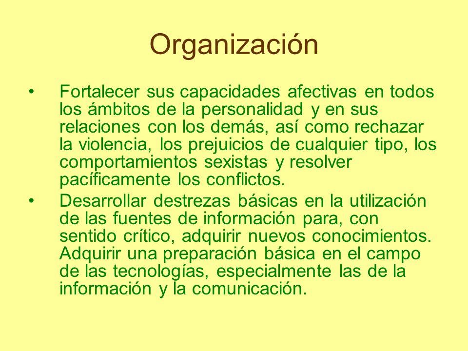 Organización Fortalecer sus capacidades afectivas en todos los ámbitos de la personalidad y en sus relaciones con los demás, así como rechazar la viol