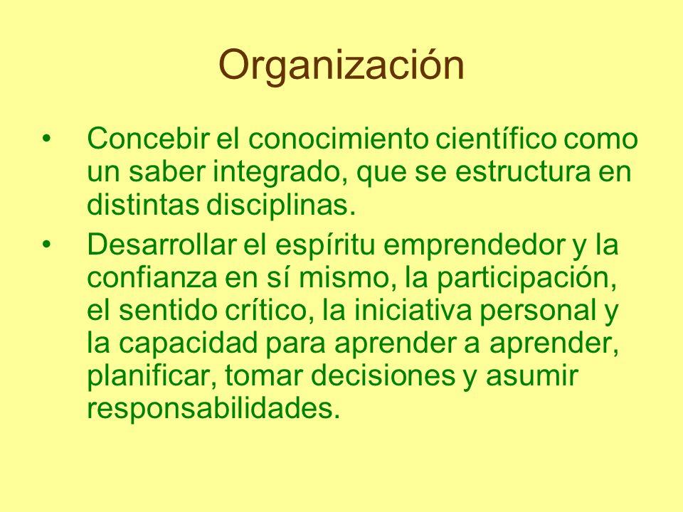 Organización Concebir el conocimiento científico como un saber integrado, que se estructura en distintas disciplinas. Desarrollar el espíritu emprende