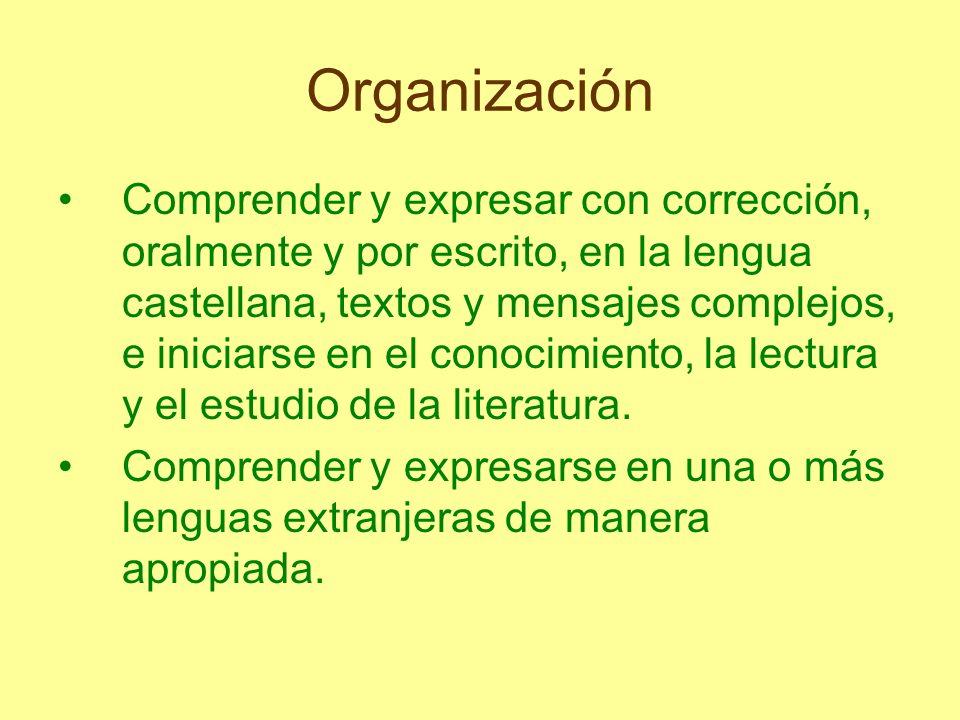 Organización Comprender y expresar con corrección, oralmente y por escrito, en la lengua castellana, textos y mensajes complejos, e iniciarse en el co