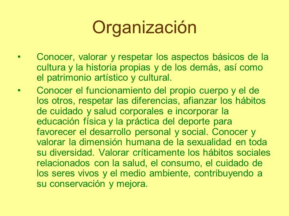 Organización Conocer, valorar y respetar los aspectos básicos de la cultura y la historia propias y de los demás, así como el patrimonio artístico y c