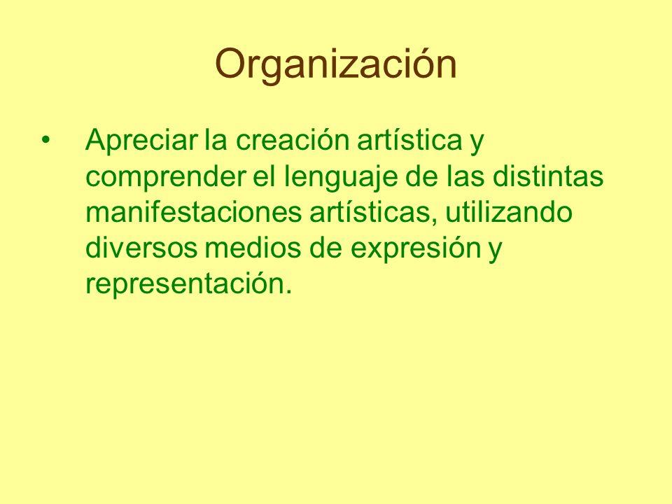 Organización Apreciar la creación artística y comprender el lenguaje de las distintas manifestaciones artísticas, utilizando diversos medios de expres
