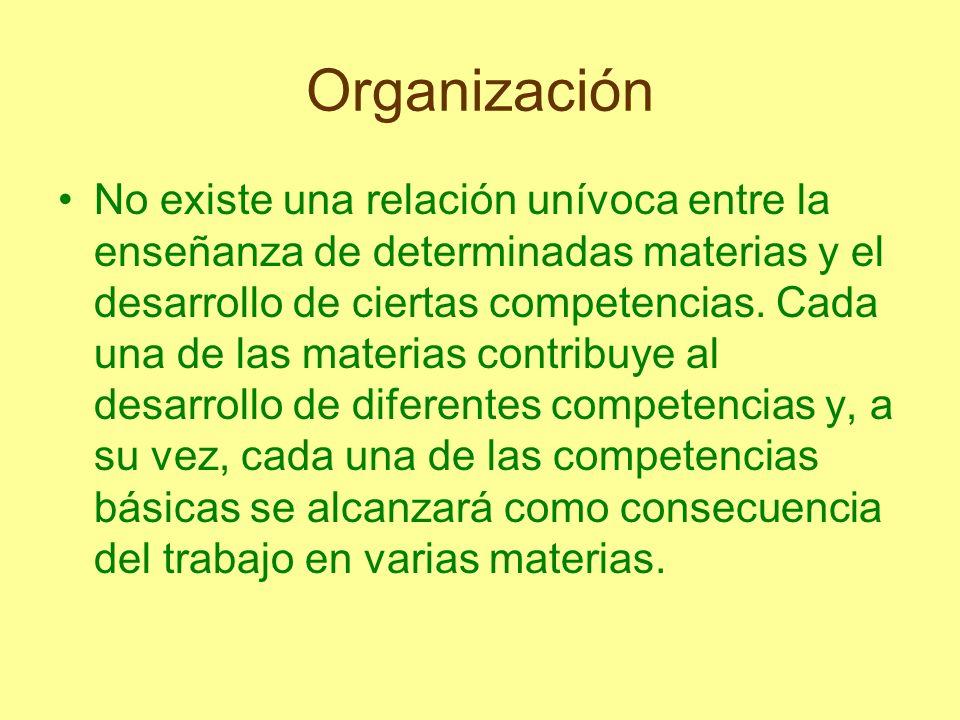 Organización No existe una relación unívoca entre la enseñanza de determinadas materias y el desarrollo de ciertas competencias. Cada una de las mater