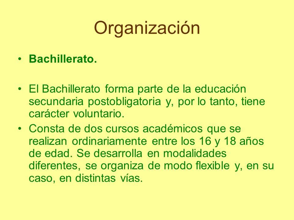 Organización Bachillerato. El Bachillerato forma parte de la educación secundaria postobligatoria y, por lo tanto, tiene carácter voluntario. Consta d