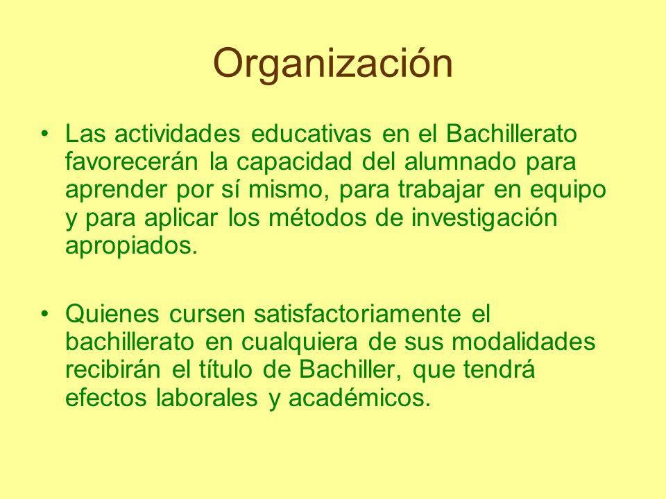 Organización Las actividades educativas en el Bachillerato favorecerán la capacidad del alumnado para aprender por sí mismo, para trabajar en equipo y