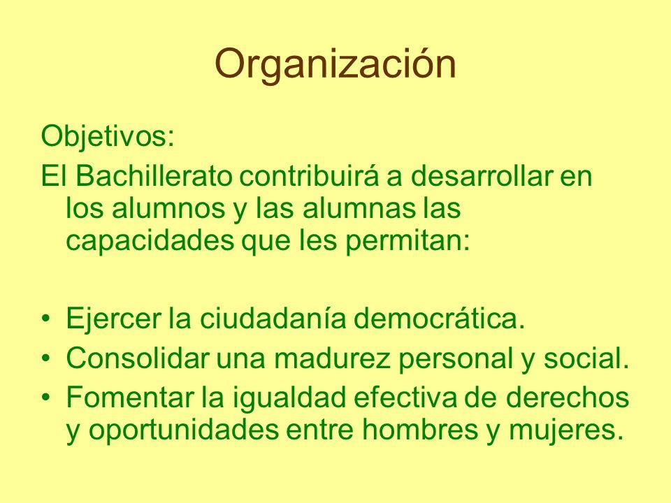 Organización Objetivos: El Bachillerato contribuirá a desarrollar en los alumnos y las alumnas las capacidades que les permitan: Ejercer la ciudadanía
