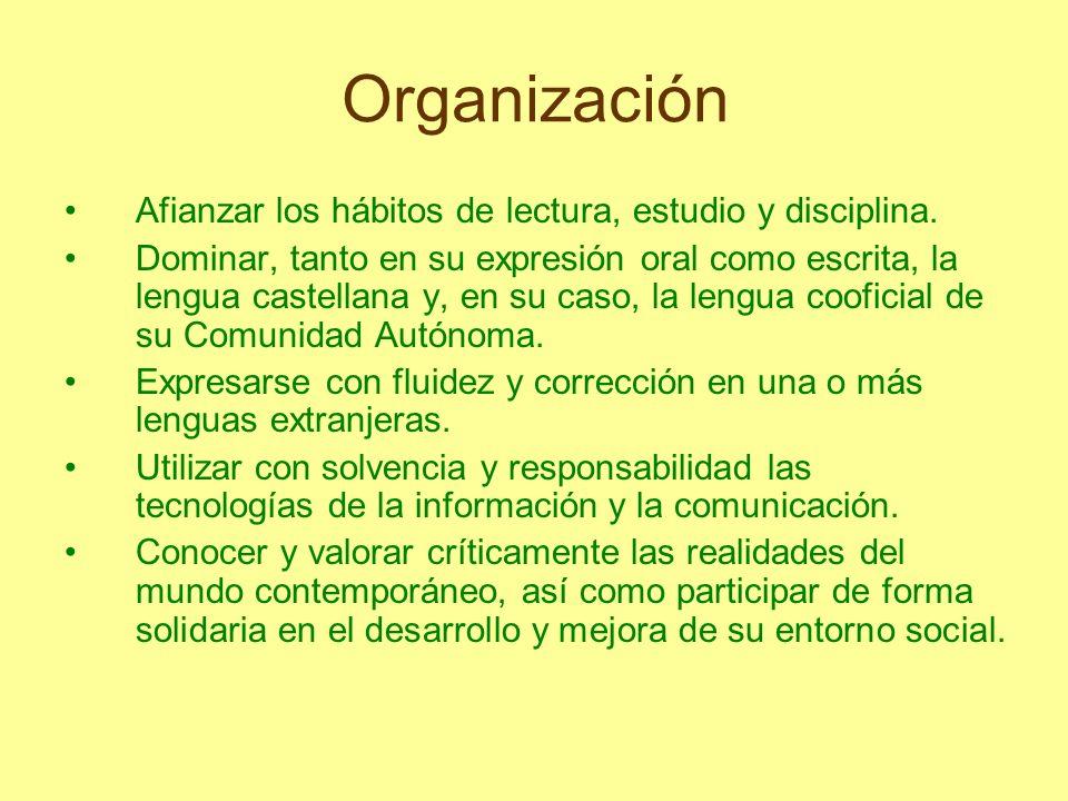 Organización Afianzar los hábitos de lectura, estudio y disciplina. Dominar, tanto en su expresión oral como escrita, la lengua castellana y, en su ca