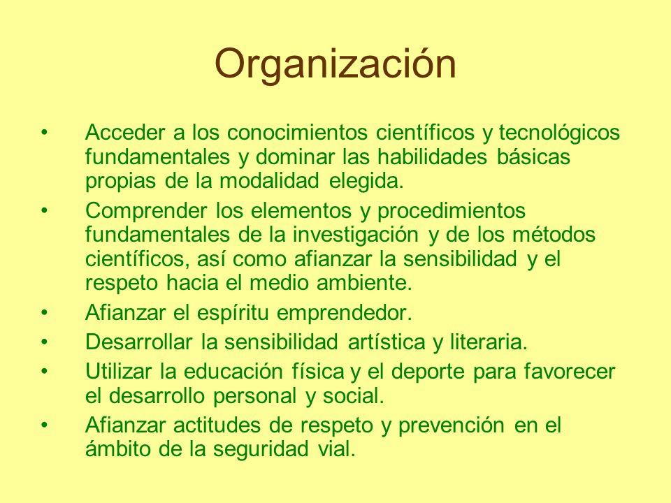 Organización Acceder a los conocimientos científicos y tecnológicos fundamentales y dominar las habilidades básicas propias de la modalidad elegida. C