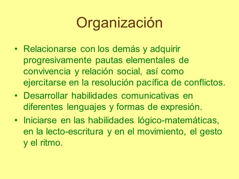 Organización Relacionarse con los demás y adquirir progresivamente pautas elementales de convivencia y relación social, así como ejercitarse en la res