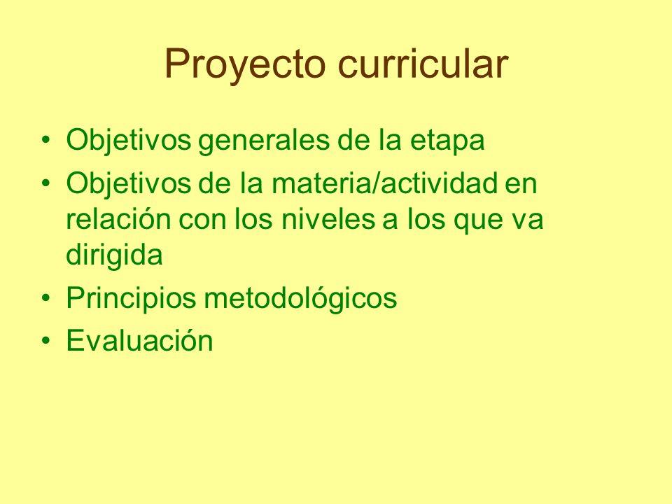 Proyecto curricular Objetivos generales de la etapa Objetivos de la materia/actividad en relación con los niveles a los que va dirigida Principios met