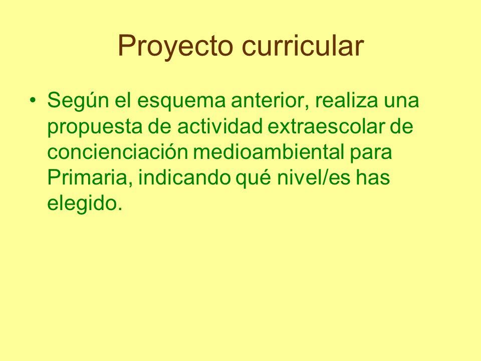 Proyecto curricular Según el esquema anterior, realiza una propuesta de actividad extraescolar de concienciación medioambiental para Primaria, indican