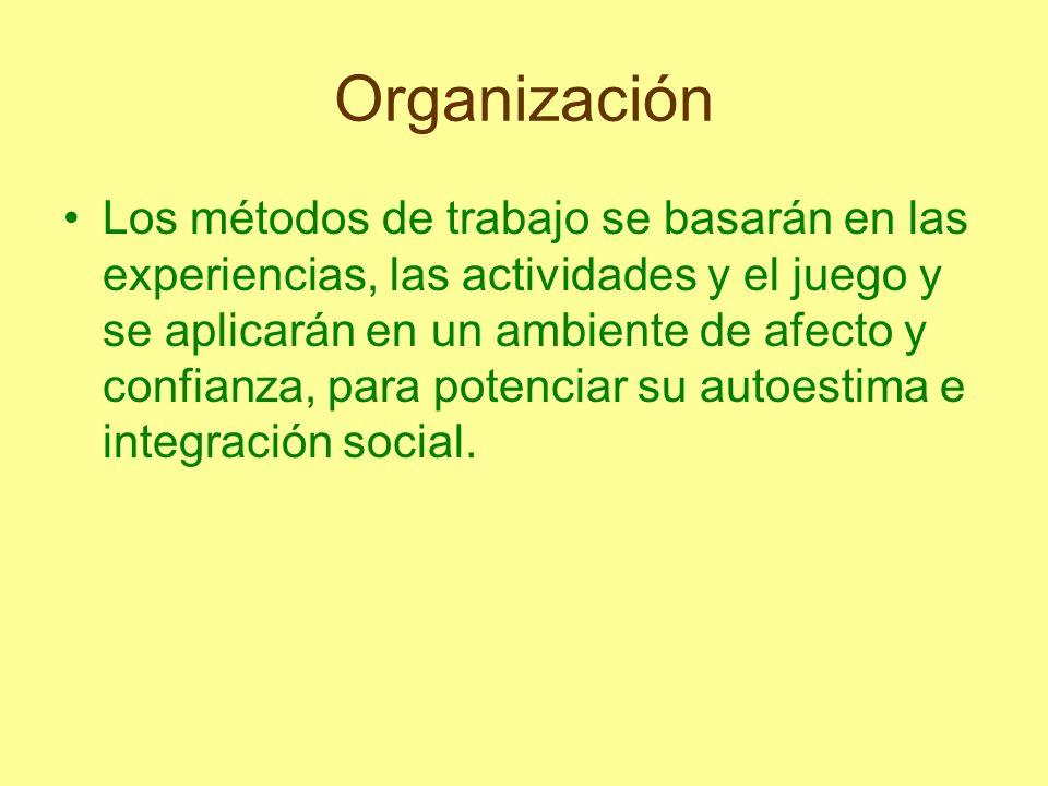 Organización Los métodos de trabajo se basarán en las experiencias, las actividades y el juego y se aplicarán en un ambiente de afecto y confianza, pa