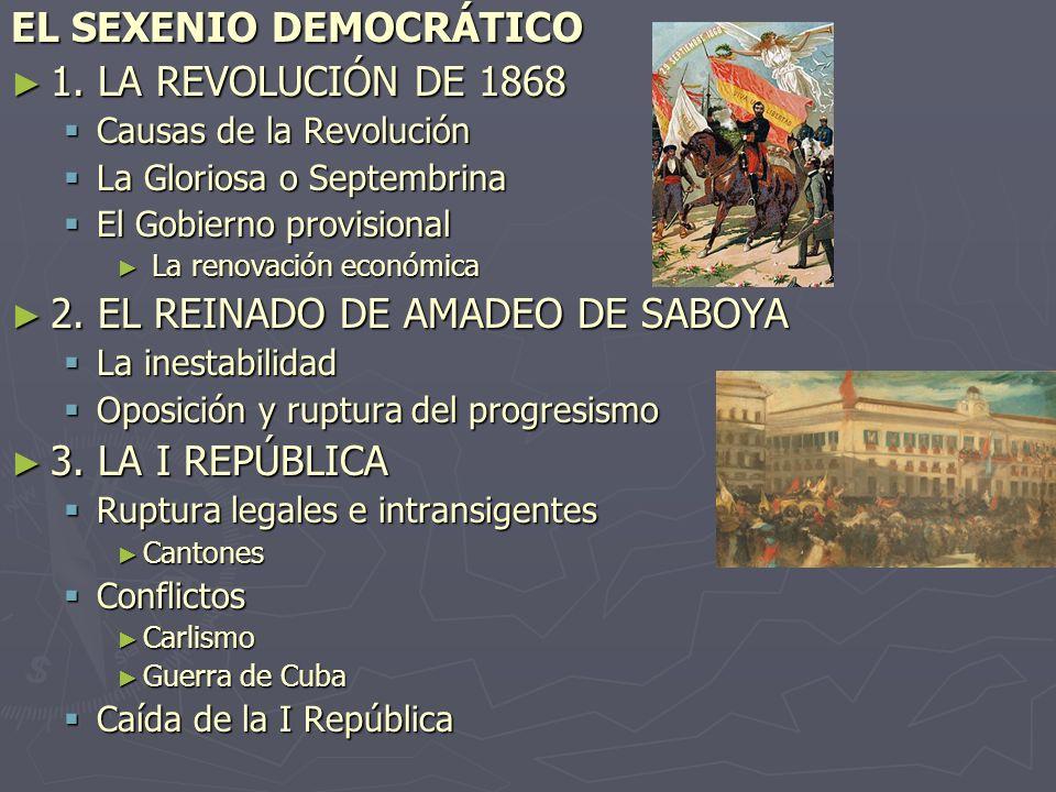 EL SEXENIO DEMOCRÁTICO 1. LA REVOLUCIÓN DE 1868 1. LA REVOLUCIÓN DE 1868 Causas de la Revolución Causas de la Revolución La Gloriosa o Septembrina La