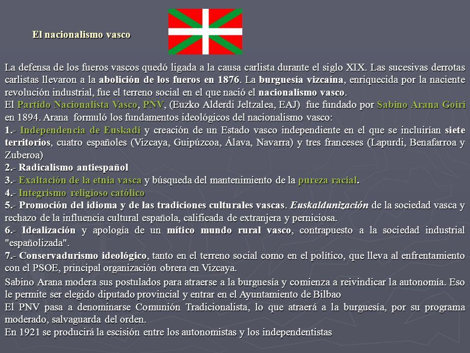 La defensa de los fueros vascos quedó ligada a la causa carlista durante el siglo XIX. Las sucesivas derrotas carlistas llevaron a la abolición de los