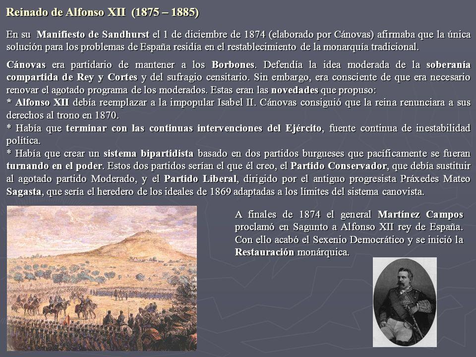 En su Manifiesto de Sandhurst el 1 de diciembre de 1874 (elaborado por Cánovas) afirmaba que la única solución para los problemas de España residía en
