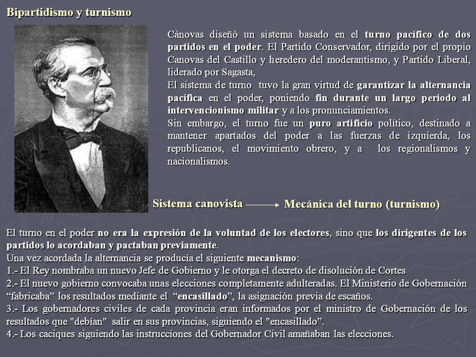 Cánovas diseñó un sistema basado en el turno pacífico de dos partidos en el poder. El Partido Conservador, dirigido por el propio Canovas del Castillo
