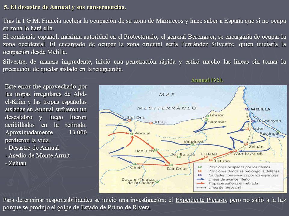 Tras la I G.M. Francia acelera la ocupación de su zona de Marruecos y hace saber a España que si no ocupa su zona lo hará ella. El comisario español,