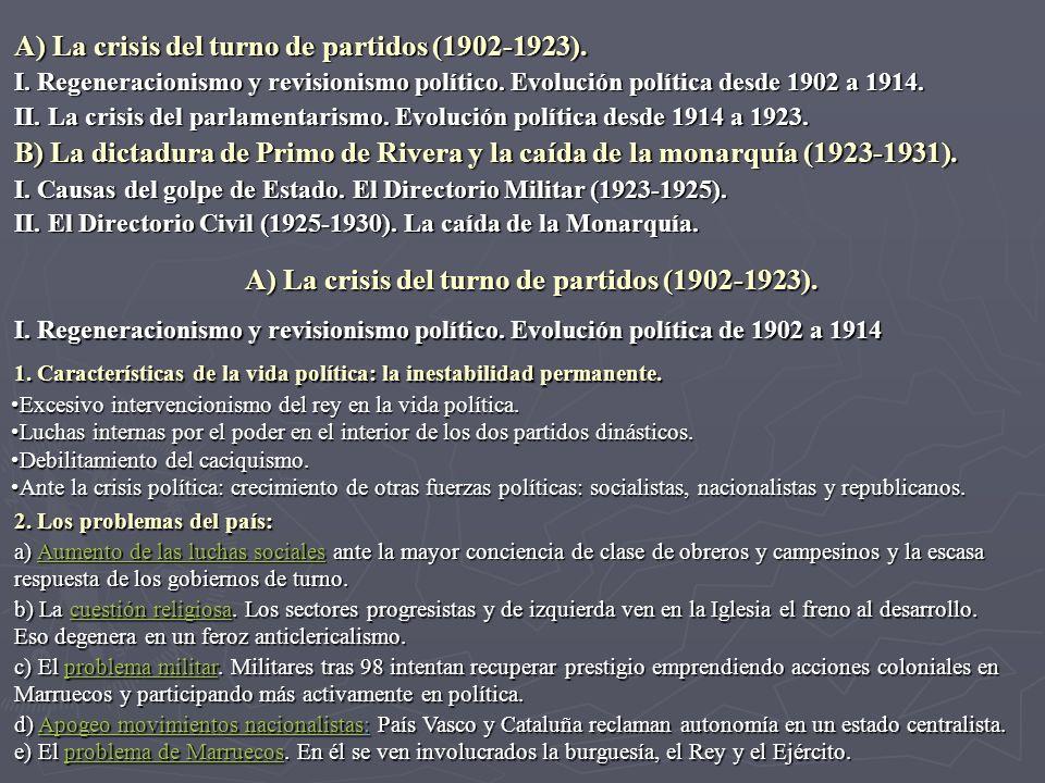 I. Regeneracionismo y revisionismo político. Evolución política de 1902 a 1914 1. Características de la vida política: la inestabilidad permanente. Ex