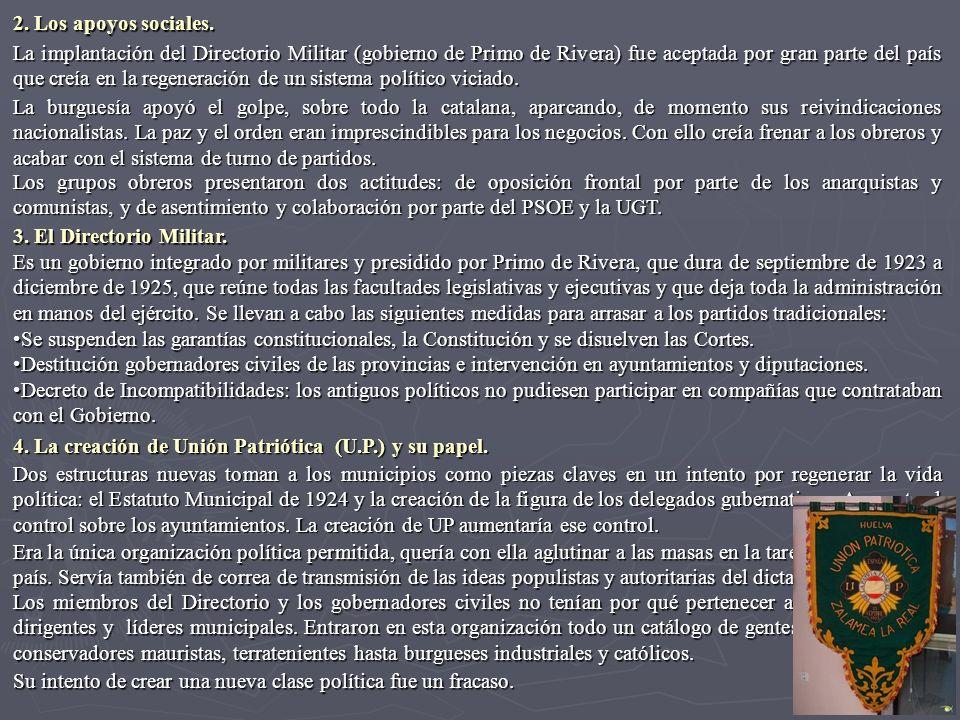 La implantación del Directorio Militar (gobierno de Primo de Rivera) fue aceptada por gran parte del país que creía en la regeneración de un sistema p
