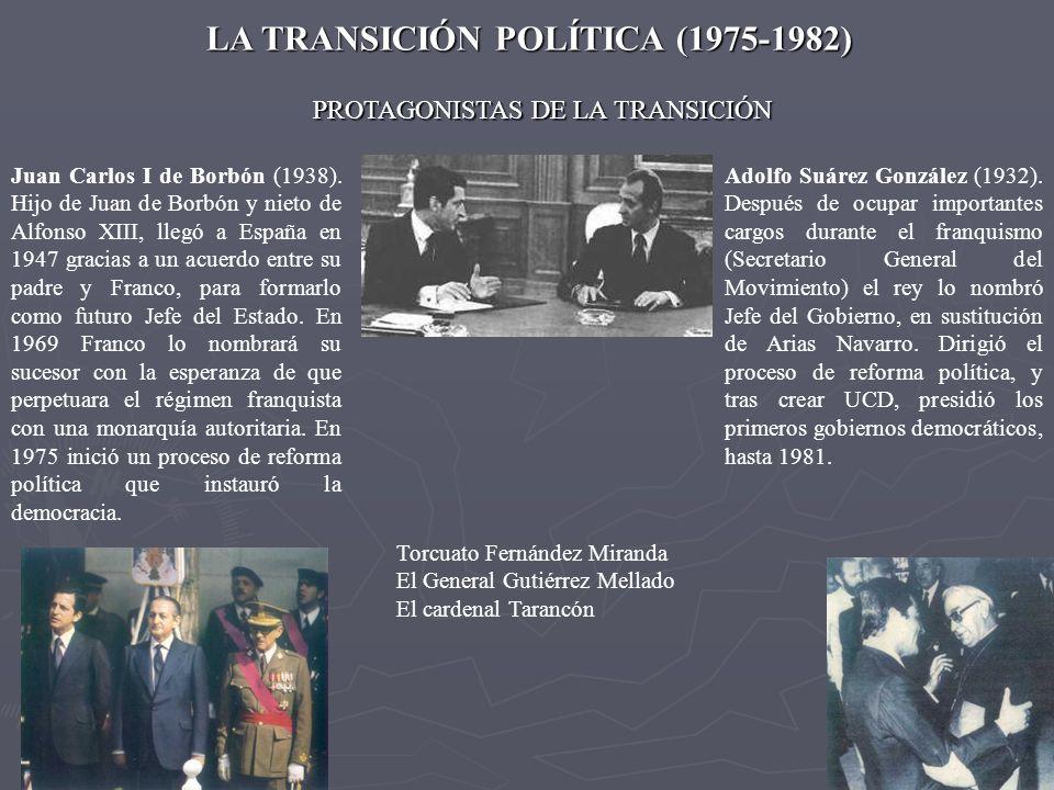 LA TRANSICIÓN POLÍTICA (1975-1982) Adolfo Suárez González (1932). Después de ocupar importantes cargos durante el franquismo (Secretario General del M
