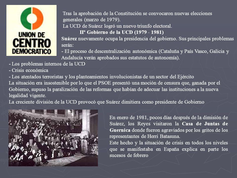 Tras la aprobación de la Constitución se convocaron nuevas elecciones generales (marzo de 1979). La UCD de Suárez logró un nuevo triunfo electoral. II