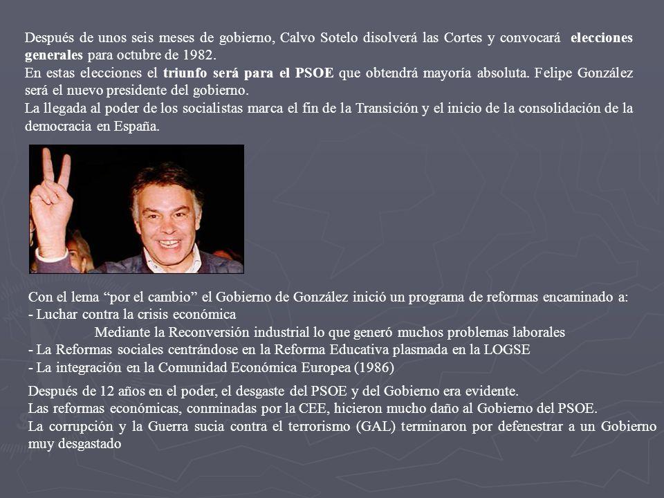 Después de unos seis meses de gobierno, Calvo Sotelo disolverá las Cortes y convocará elecciones generales para octubre de 1982. En estas elecciones e