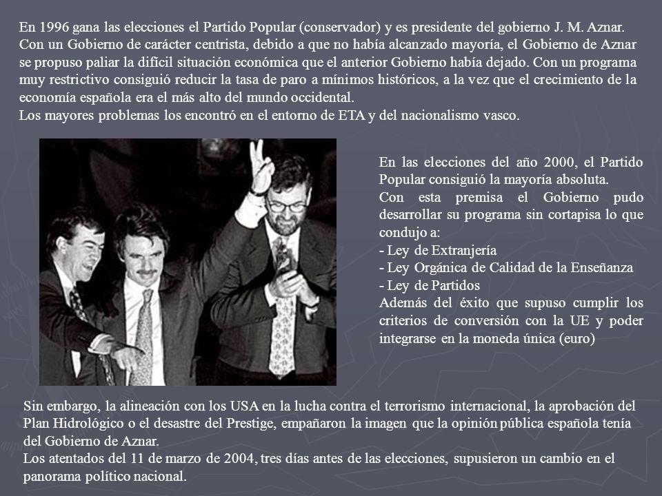 En 1996 gana las elecciones el Partido Popular (conservador) y es presidente del gobierno J. M. Aznar. Con un Gobierno de carácter centrista, debido a