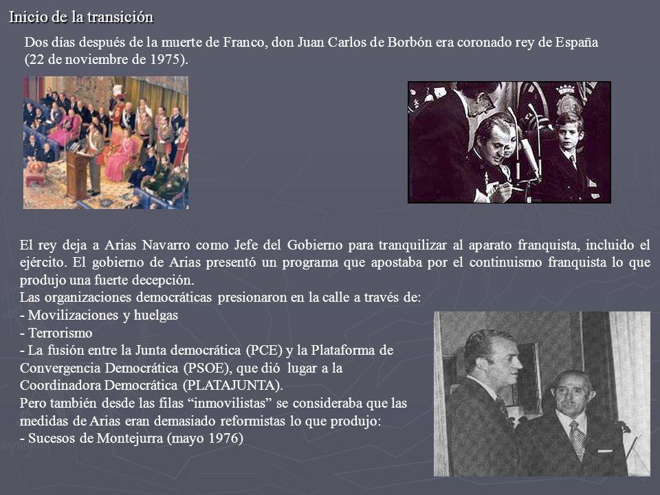 Dos días después de la muerte de Franco, don Juan Carlos de Borbón era coronado rey de España (22 de noviembre de 1975). Inicio de la transición El re