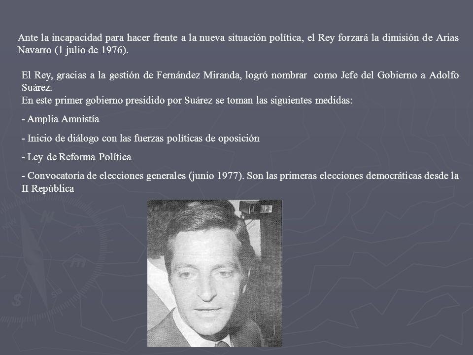 El Rey, gracias a la gestión de Fernández Miranda, logró nombrar como Jefe del Gobierno a Adolfo Suárez. En este primer gobierno presidido por Suárez