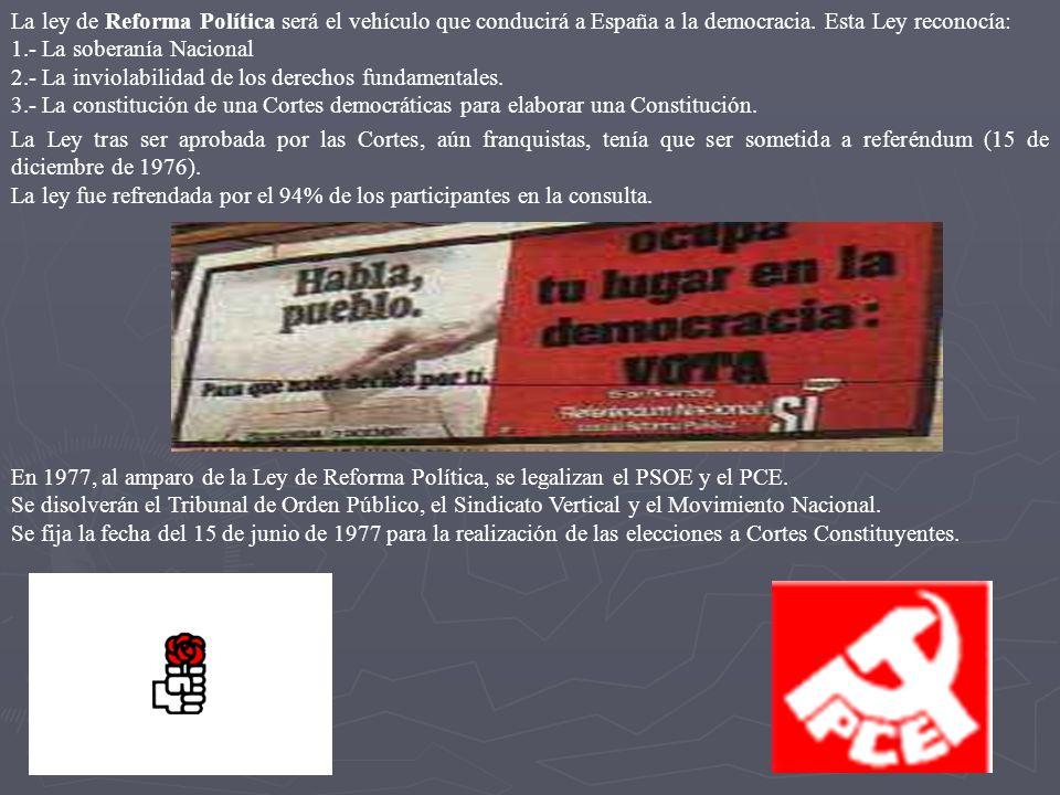 La ley de Reforma Política será el vehículo que conducirá a España a la democracia. Esta Ley reconocía: 1.- La soberanía Nacional 2.- La inviolabilida