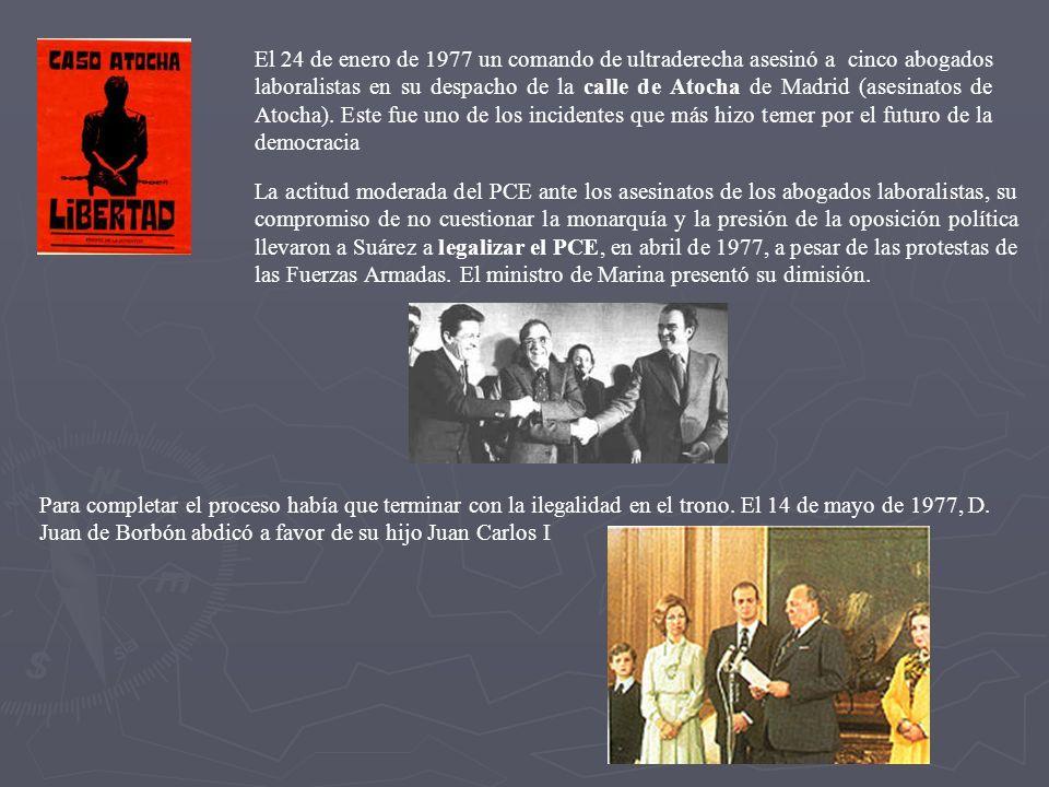 Principales partidos que se presentan a las primeras elecciones democráticas (junio 1977) Tras estas elecciones, Adolfo Suárez (UCD) será Jefe del primer Gobierno democrático tras la muerte de Franco.