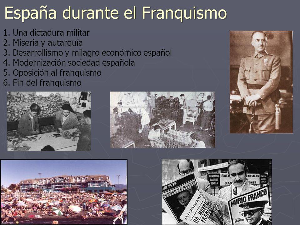 España durante el Franquismo 1. Una dictadura militar 2. Miseria y autarquía 3. Desarrollismo y milagro económico español 4. Modernización sociedad es
