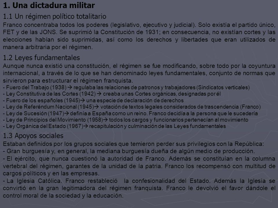 1. Una dictadura militar 1.1 Un régimen político totalitario Franco concentraba todos los poderes (legislativo, ejecutivo y judicial). Solo existía el