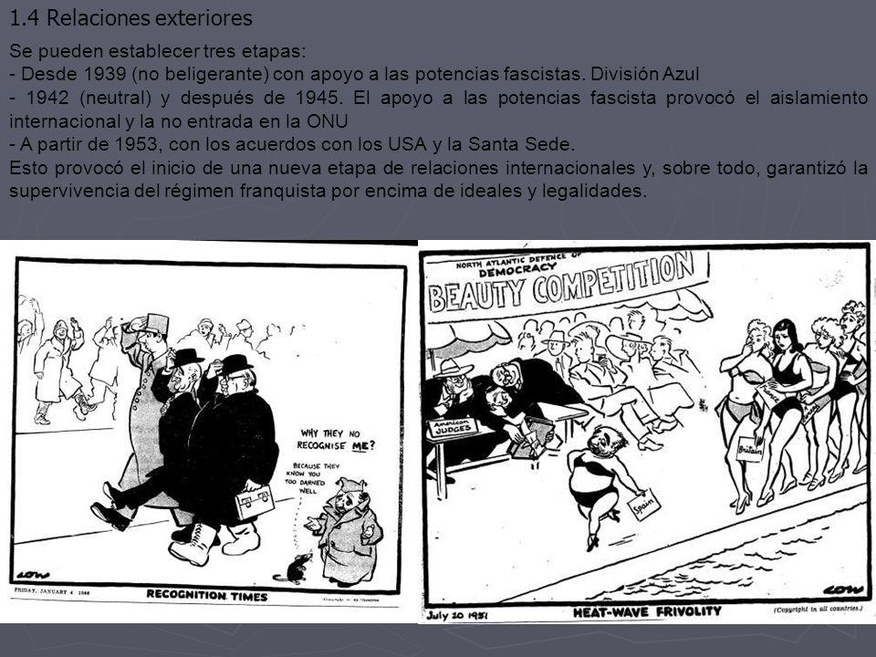 1.4 Relaciones exteriores Se pueden establecer tres etapas: - Desde 1939 (no beligerante) con apoyo a las potencias fascistas. División Azul - 1942 (n