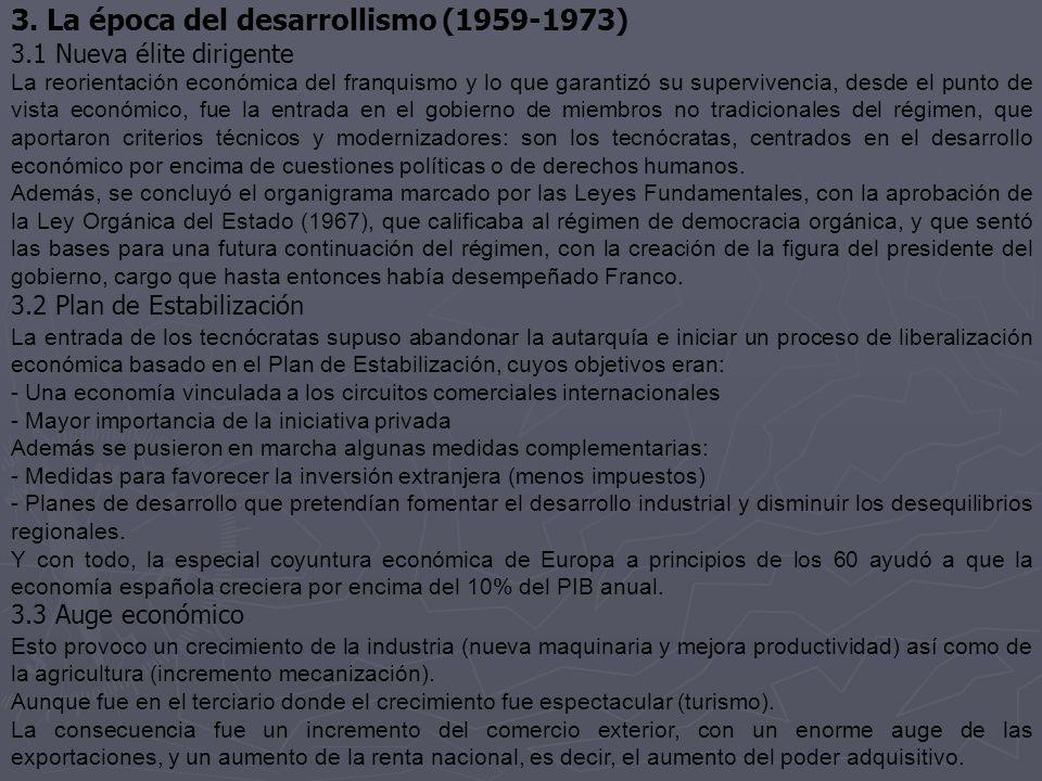 3. La época del desarrollismo (1959-1973) 3.1 Nueva élite dirigente La reorientación económica del franquismo y lo que garantizó su supervivencia, des