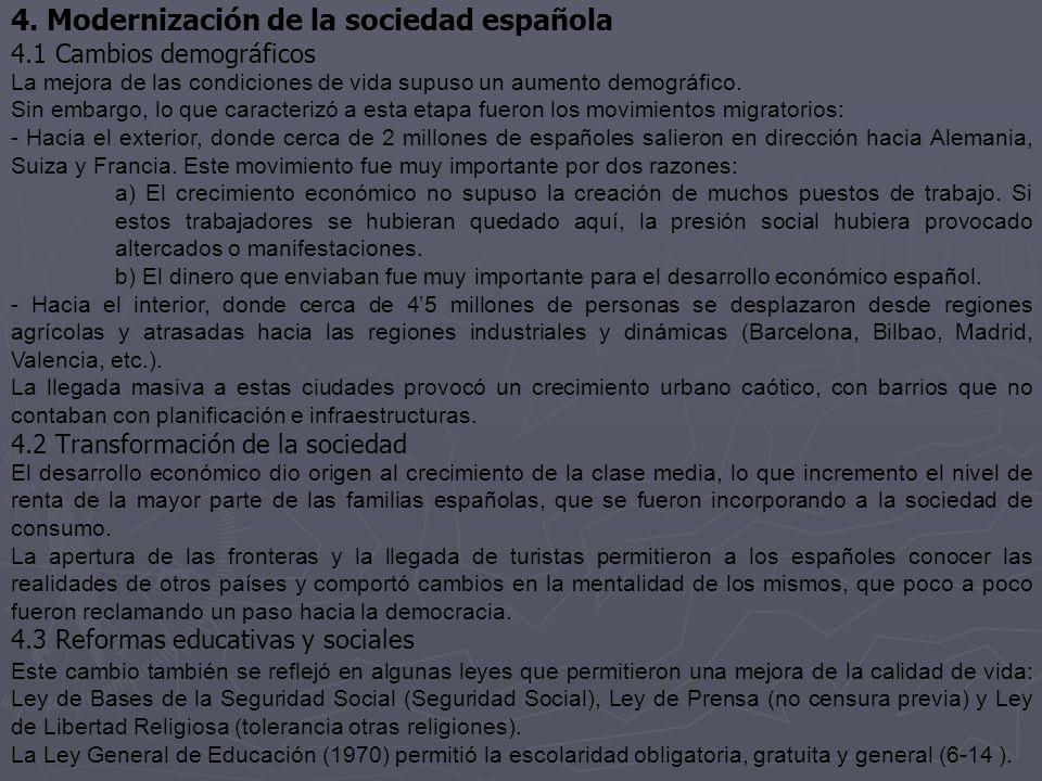 4. Modernización de la sociedad española 4.1 Cambios demográficos La mejora de las condiciones de vida supuso un aumento demográfico. Sin embargo, lo
