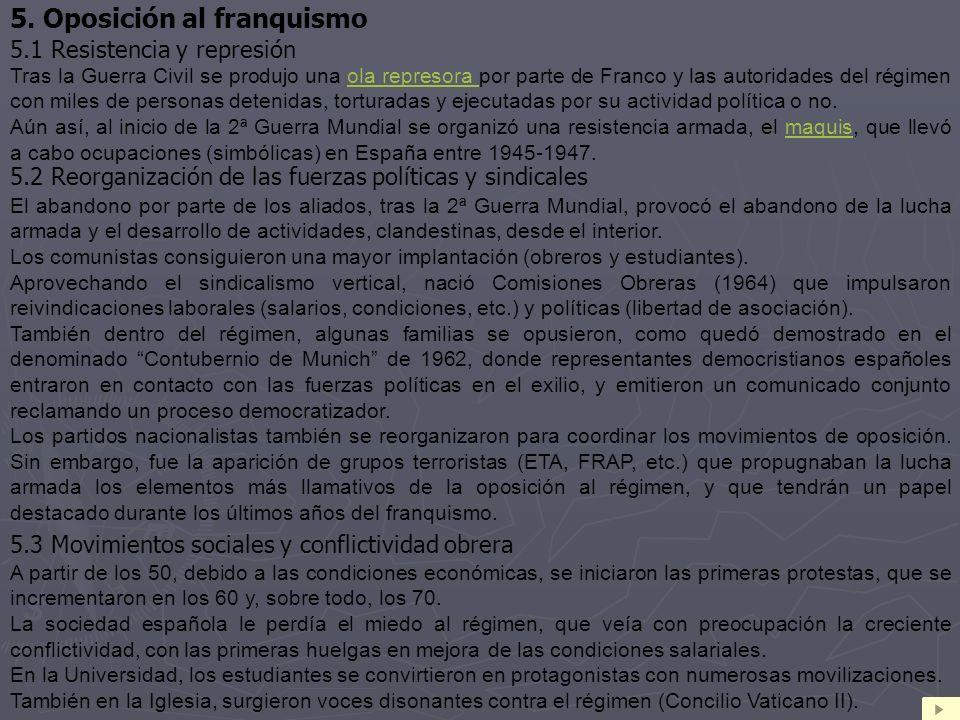 5. Oposición al franquismo 5.1 Resistencia y represión Tras la Guerra Civil se produjo una ola represora por parte de Franco y las autoridades del rég