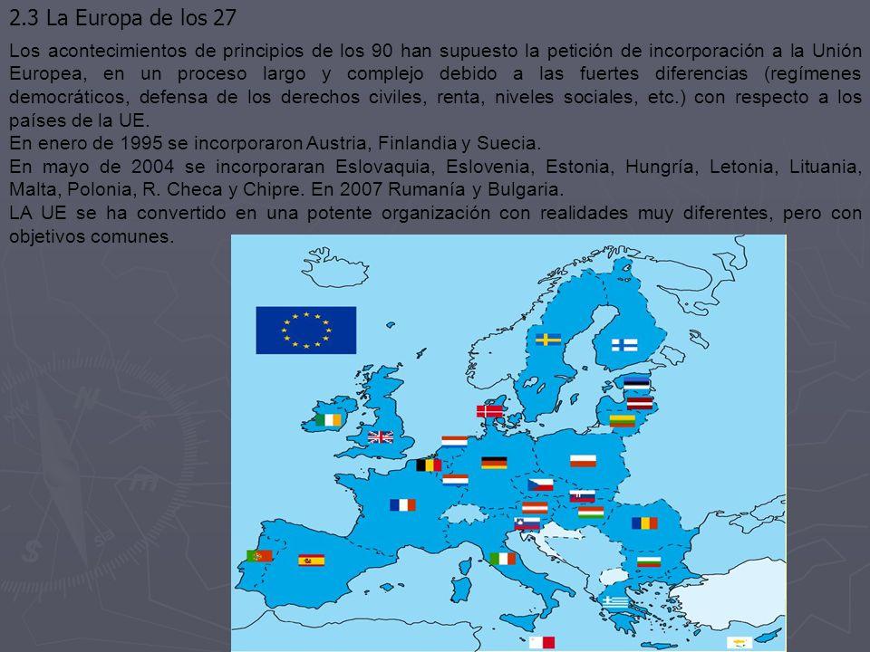 2.3 La Europa de los 27 Los acontecimientos de principios de los 90 han supuesto la petición de incorporación a la Unión Europea, en un proceso largo y complejo debido a las fuertes diferencias (regímenes democráticos, defensa de los derechos civiles, renta, niveles sociales, etc.) con respecto a los países de la UE.