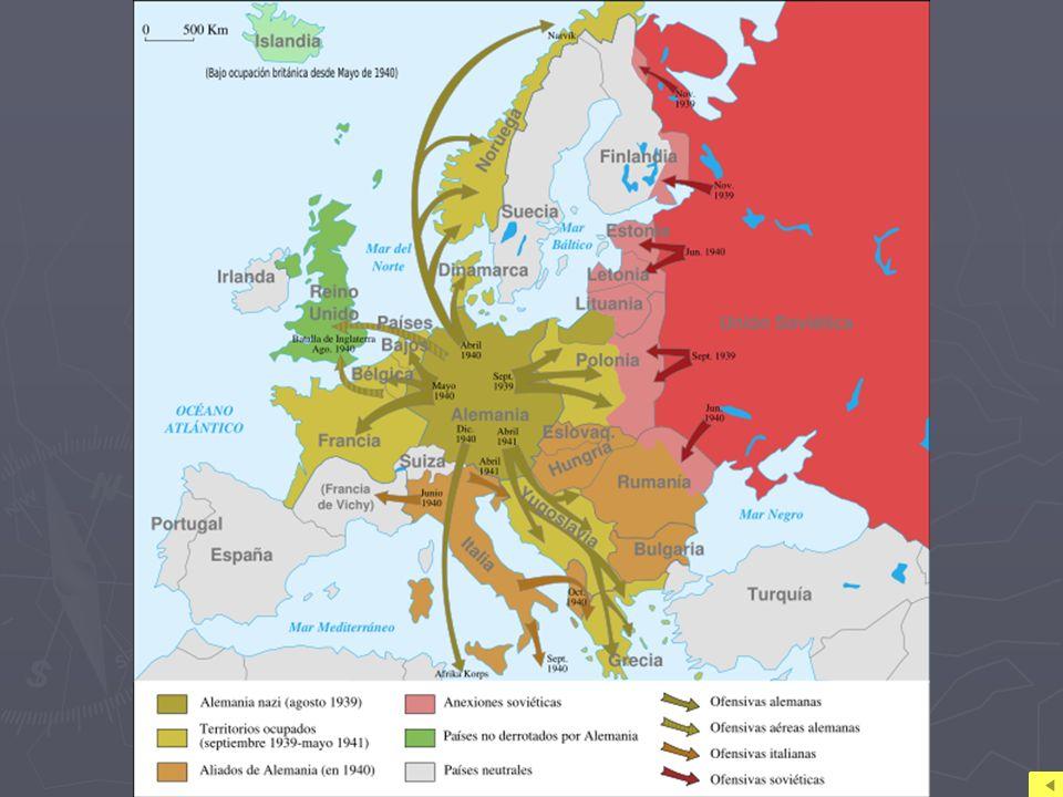 2. Desarrollo del conflicto 2.1 Las victorias del Eje Entre septiembre de 1939 y diciembre de 1941 Alemania dominó la contienda con la estrategia deno