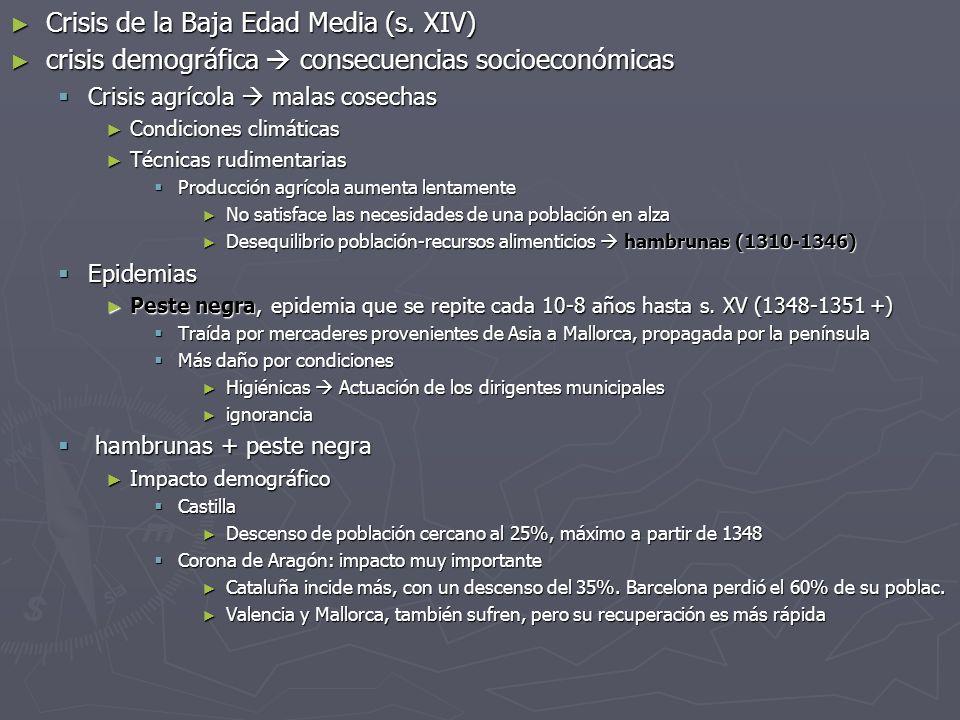 Crisis de la Baja Edad Media (s. XIV) Crisis de la Baja Edad Media (s. XIV) crisis demográfica consecuencias socioeconómicas crisis demográfica consec