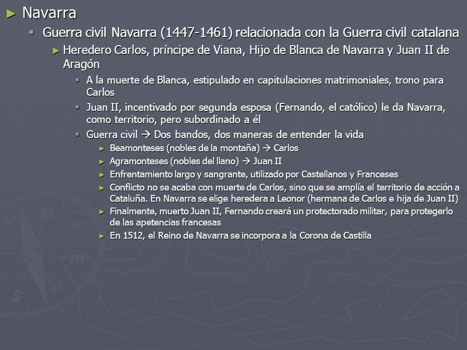 Navarra Navarra Guerra civil Navarra (1447-1461) relacionada con la Guerra civil catalana Guerra civil Navarra (1447-1461) relacionada con la Guerra c