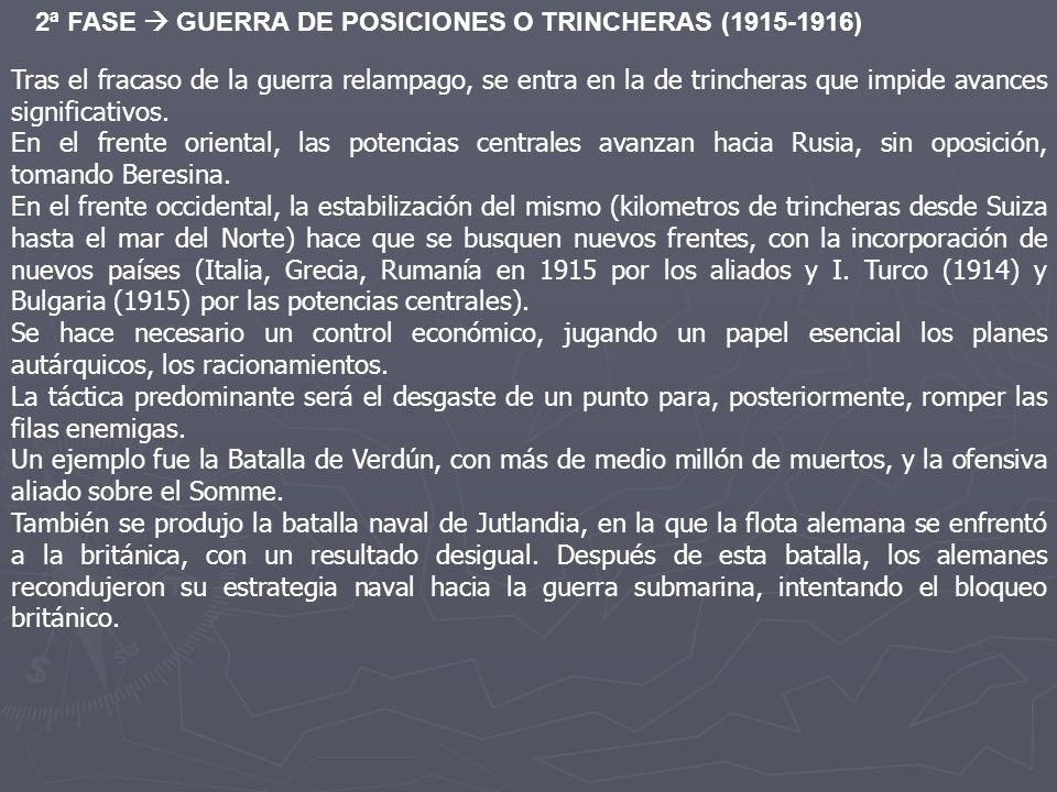 2ª FASE GUERRA DE POSICIONES O TRINCHERAS (1915-1916) Tras el fracaso de la guerra relampago, se entra en la de trincheras que impide avances signific