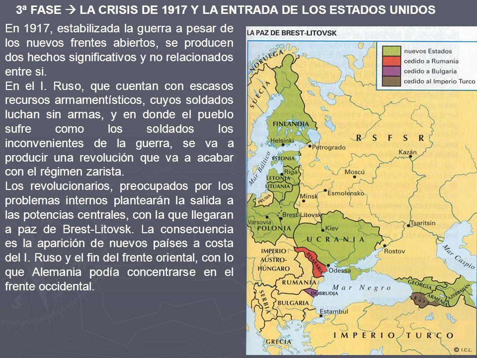 3ª FASE LA CRISIS DE 1917 Y LA ENTRADA DE LOS ESTADOS UNIDOS En 1917, estabilizada la guerra a pesar de los nuevos frentes abiertos, se producen dos h
