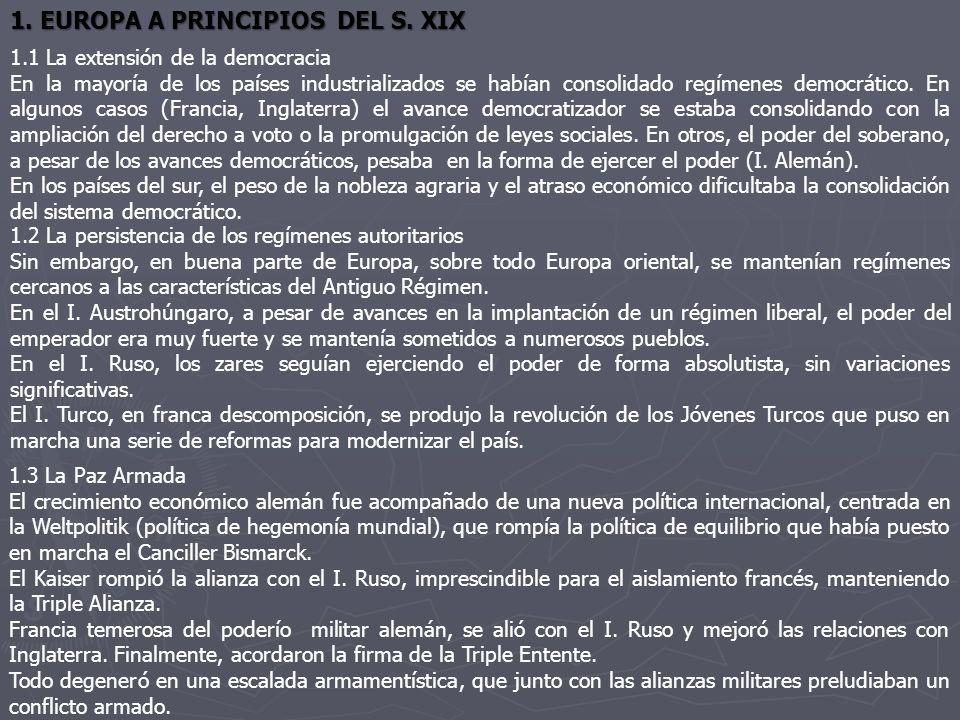 1. EUROPA A PRINCIPIOS DEL S. XIX 1.1 La extensión de la democracia En la mayoría de los países industrializados se habían consolidado regímenes democ