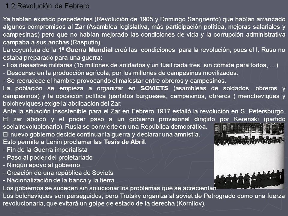 1.2 Revolución de Febrero Ya habían existido precedentes (Revolución de 1905 y Domingo Sangriento) que habían arrancado algunos compromisos al Zar (As