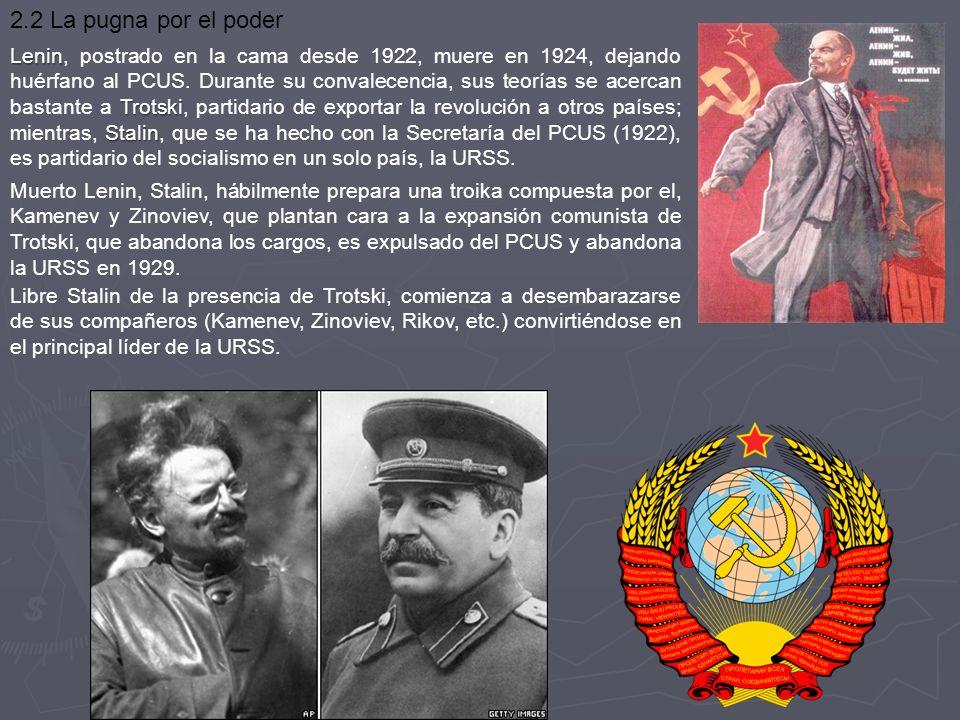 Lenin Trotski Stalin Lenin, postrado en la cama desde 1922, muere en 1924, dejando huérfano al PCUS. Durante su convalecencia, sus teorías se acercan