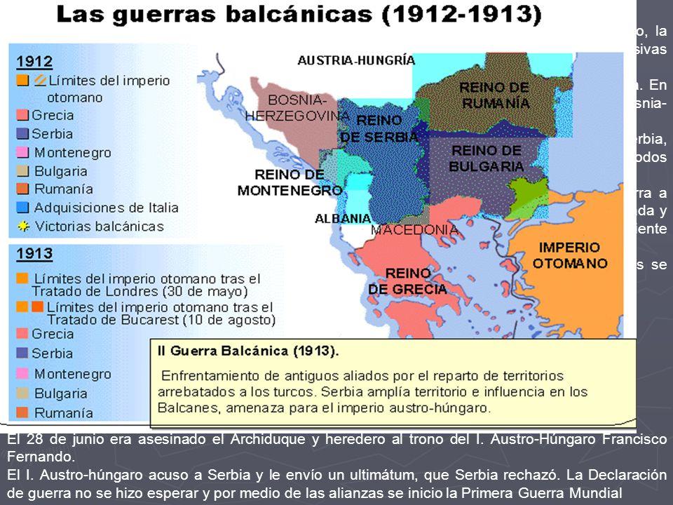 Las crisis balcánicas En los Balcanes es donde se enciende la chispa de la 1ª Guerra Mundial. El declive turco, la efervescencia nacionalista y los ex