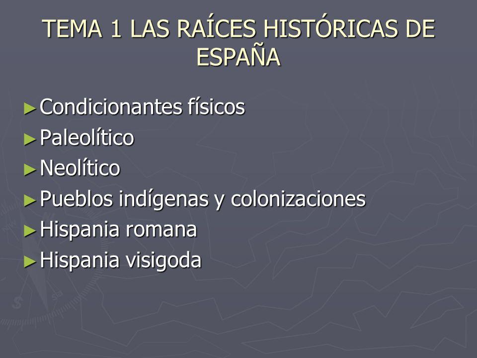 TEMA 1 LAS RAÍCES HISTÓRICAS DE ESPAÑA Condicionantes físicos Condicionantes físicos Paleolítico Paleolítico Neolítico Neolítico Pueblos indígenas y c