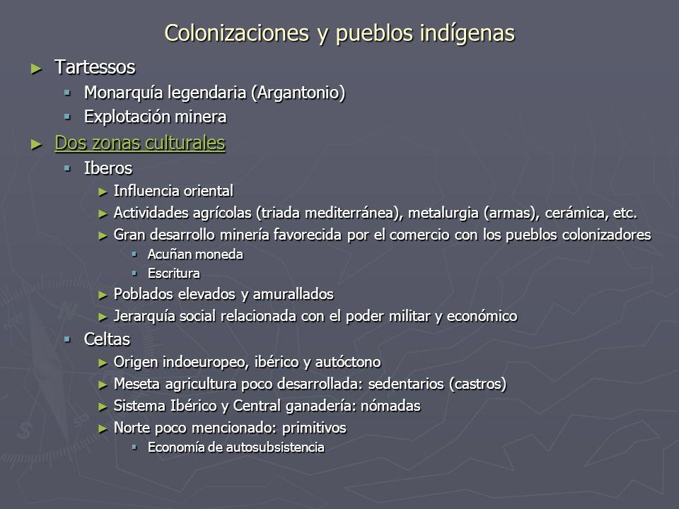 Colonizaciones y pueblos indígenas Tartessos Tartessos Monarquía legendaria (Argantonio) Monarquía legendaria (Argantonio) Explotación minera Explotac
